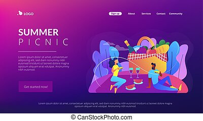 Summer picnic concept landing page.