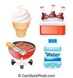 Summer Picnic Food Icons Set