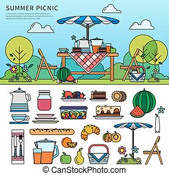 Summer picnic in a sunny day