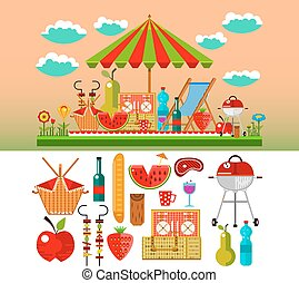 Summer picnic in the meadow vector