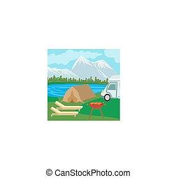 Summer picnic on rural landscape