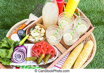 Summer picnic - Small summer picnic with lemonade and...