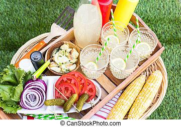 Summer picnic - Small summer picnic with lemonade and ...