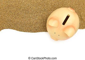 Summer piggy bank on the sand