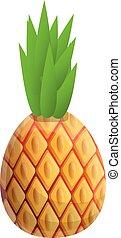 Summer pineapple icon, cartoon style