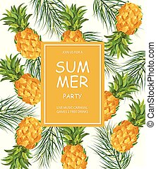 Summer pineapple pattern Vector. Fresh fruits tropic posters
