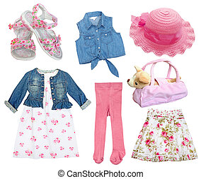 ea85d7ddcc Summer pink child's female clothes. Set of female kid clothes isolated on  white.collage girl wear and accessories.