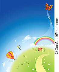 Summer planet with a rainbow and balloons