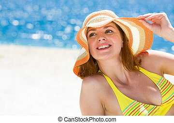 Summer pleasure - Portrait of happy woman in hat enjoying ...