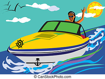 Abstract vector illustration of a girl driving a motor-boat smiling and swaying to as with her hand. The sky is light blue with the clouds, birds and a lemon instead of the sun. Pop-art style