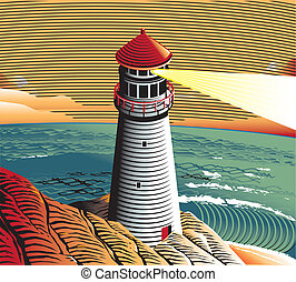 Summer Point Lighthouse - A lighthouse scene with a rocky...