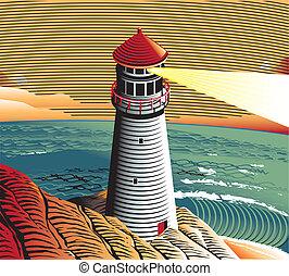 Summer Point Lighthouse - A lighthouse scene with a rocky...