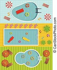 Summer pool banner horizontal set, flat style