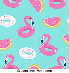 Summer pool floating with flamingo. Seamless pattern.