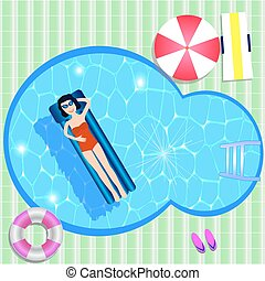 Summer pool party poster template with woman in bikini sunbathing. Summer pool party banner. Invitation to summer pool party event. Summer holiday pool party vector illustration.