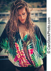 summer portrait of city girl in tunic outdoor