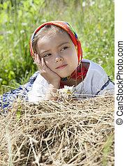 Summer portrait of little girl
