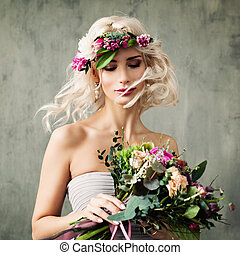 Summer Portrait of Perfect Blonde Model Woman with Curly Hair and Flowers Wreath