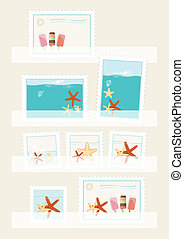 Summer postage stamps collection displayed in philatelic...