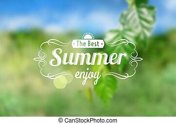 Summer postcard - Rectangular summer postcard with green and...