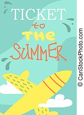 Summer postcard with cute plane. Vector cartoon illustration. Vacations.