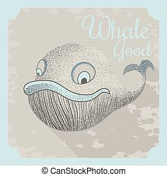 Cool vector poster with a whale