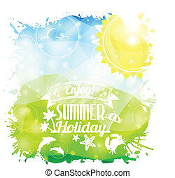 Summer Poster - Grunge Summer Poster on Triangle Colorful...