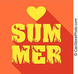 Summer poster of type composition. Flat design holiday backgroun
