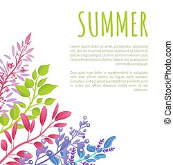 Summer Poster Template with Colorful Branches