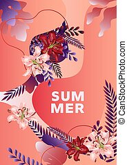 Summer poster template with lily flowers, leaves and abstract liquid shapes and text.