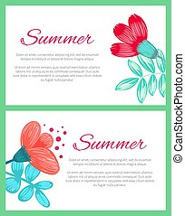 Summer Poster with Flowers on Vector Illustration
