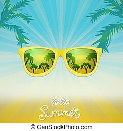Summer poster with sunglasses palm