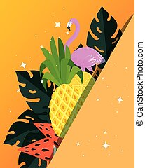 summer poster with tropical pineapple and flemish vector illustration design