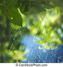 Summer rain, abstract seasonal background for your design