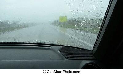summer rain in the highway