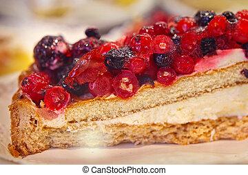 summer raspberry-blueberry tart, food close up