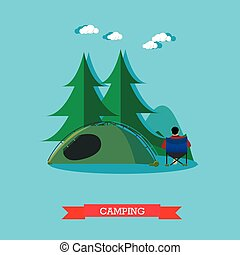 Summer recreation concept vector banner in flat style. People camping in national park forest