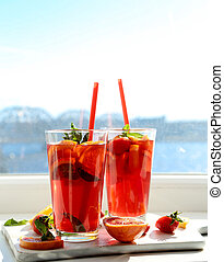 Refreshing drink - Summer. Refreshing drink by the window