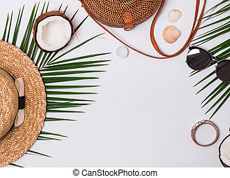 Summer related items on the white background.