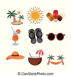 Summer Related Vector Illustration Object Design Set