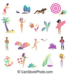 Summer relaxing people and leisure activity in the ocean beach icons set. Modern gradient flat design vector illustration.