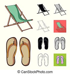 Summer rest cartoon, black, flat, monochrome, outline icons in set collection for design. Beach accessory vector symbol stock web illustration.