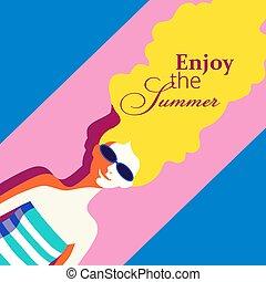 Summer rest concept - Summer recreation concept. Hand drawn...