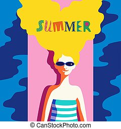 Summer rest concept - Summer time concept. Hand drawn fancy...