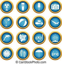 Summer rest icons blue circle set