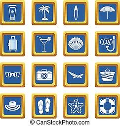 Summer rest icons set blue