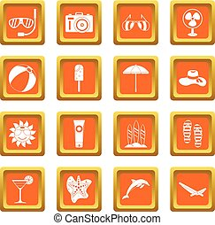 Summer rest icons set orange