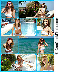 Summer rest - Collage of beautiful young woman having rest...