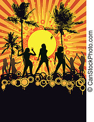 Summer Retro Beach Party - Beach party flyer design with...