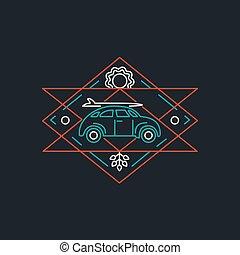 Summer retro car line art icon with surf board